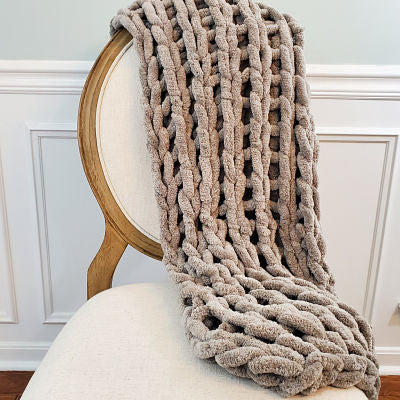 Chenille Chunky Knit Blanket - Dove Gray