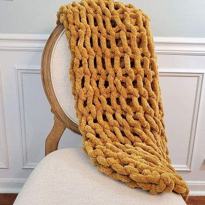 Chenille Chunky Knit Blanket - Gold