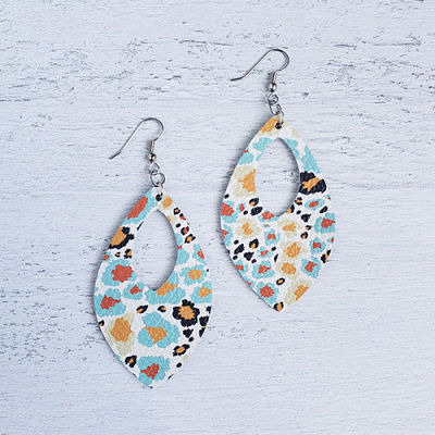 Autumn Leopard Leather Open Teardrop Earrings