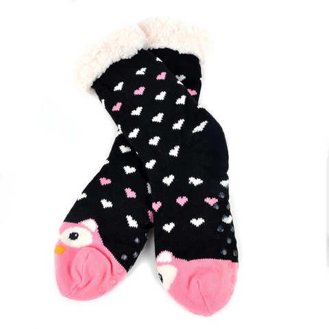 Black Owl Plush Sherpa Winter Slipper Socks