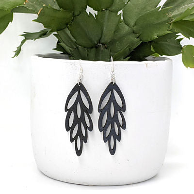 Cascade Cork Earrings - Charcoal
