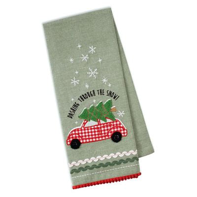 Holiday Car Embellished Dishtowel