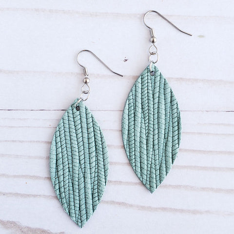 Seafoam Leather Petal Earrings