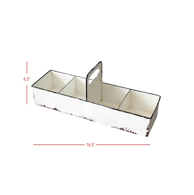 White Rustic Enamel Slotted Decorative Tray