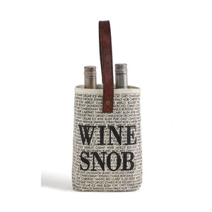 Wine Snob Up-Cycled Canvas Double Wine Bag