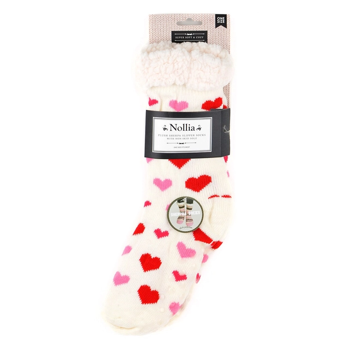 Plush Sherpa Winter Hearts Slipper Socks - White