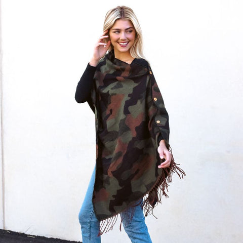 Camo Green Button Scarf