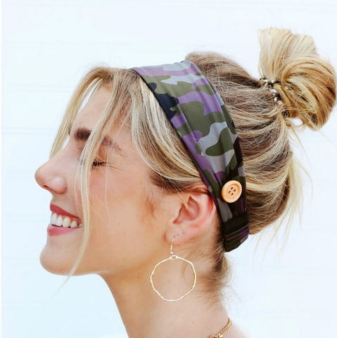 Headbands with Buttons for Holding Face Masks - Camo