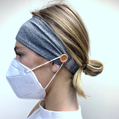 Headbands with Buttons for Holding Face Masks - Gray