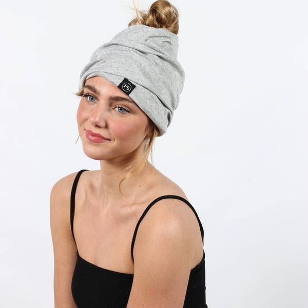 Light Gray Peek-a-Boo Beanie