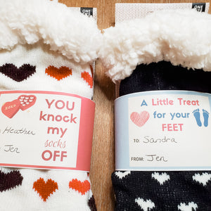 FREE PDF Download of Valentine's Day Sock Gift Tags