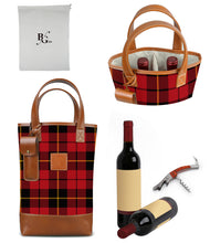 Load image into Gallery viewer, Westport 2 Bottle Wine Tote-Wallace Plaid