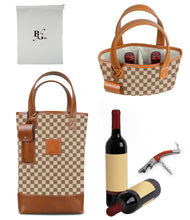 Load image into Gallery viewer, Westport 2 Bottle Wine Tote-Vintage Check