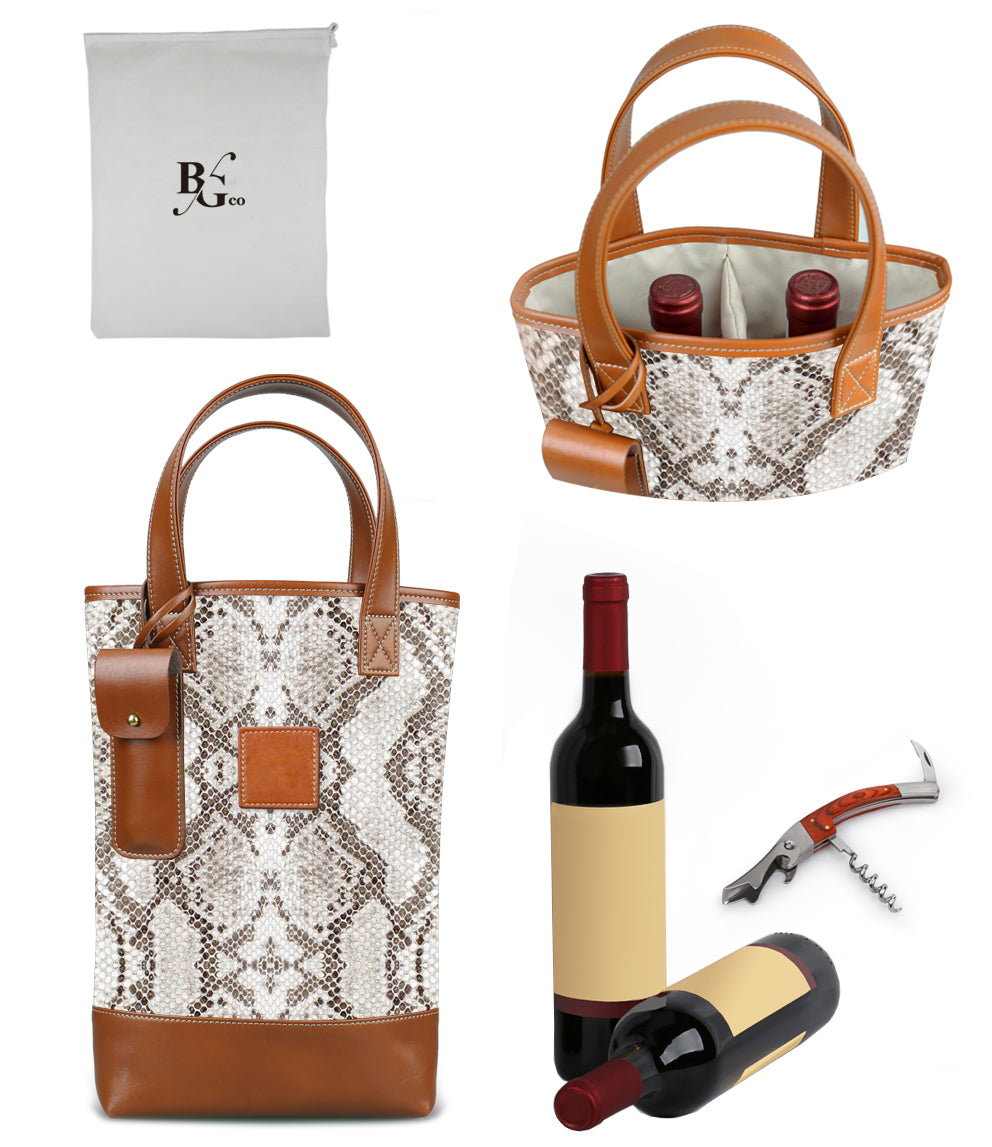 Westport 2 Bottle Wine Tote-Python