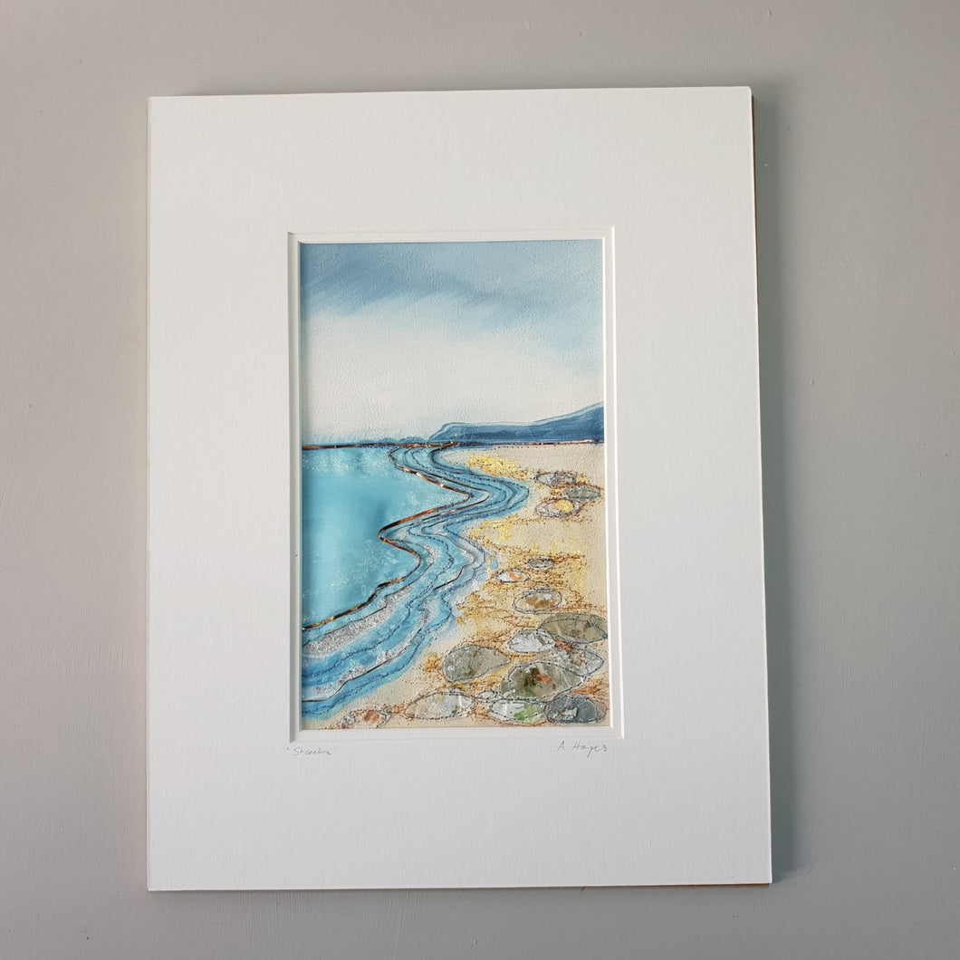 Large Mount Hand Made Textile Art: Shoreline
