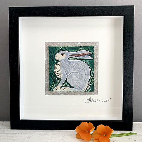 Small Black Box Frame Ceramic Tile Picture: Hare