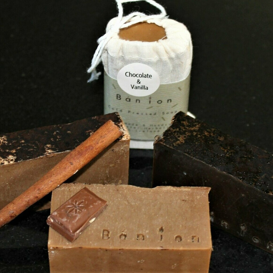 Natural Hand Made Soap & Soap Saver: Chocolate & Vanilla