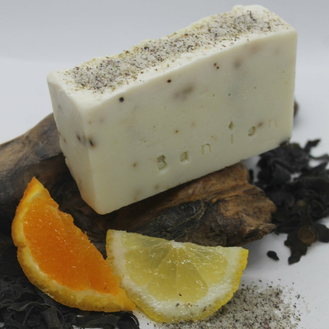 Natural Hand Made Soap & Soap Saver: Seaweed, Seasalt, Orange & Lemon