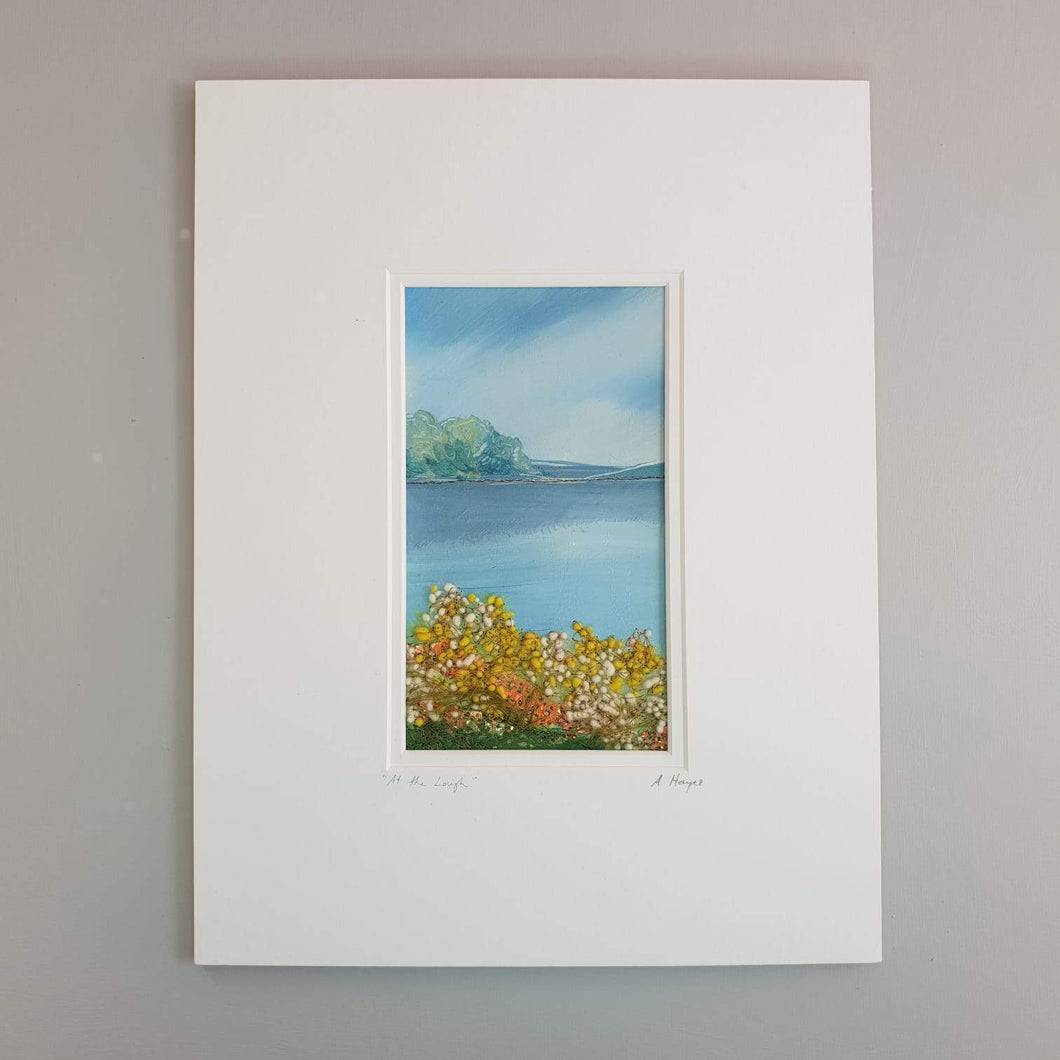 Small Mount Hand Made Textile Art: AT THE LOUGH - madebyhandni