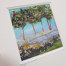 Load image into Gallery viewer, Medium Mount Hand Made Textile Art: Amongst The Bluebells