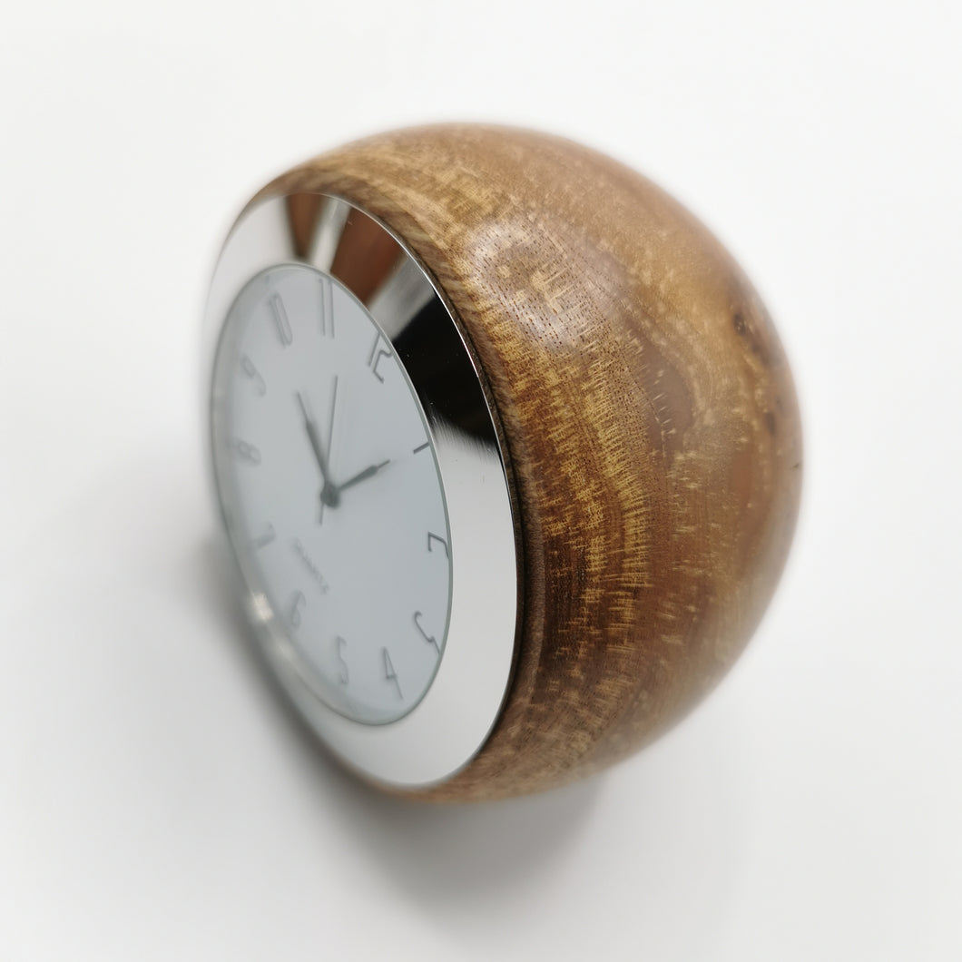 Turned Wooden Desk Clock: Medium Burr Elm 1