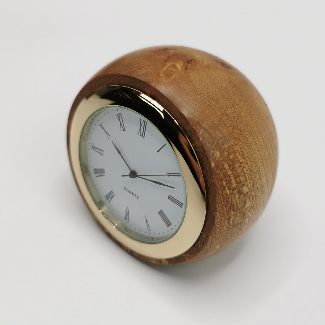 Turned Wooden Desk Clock: Small Burr Elm 3