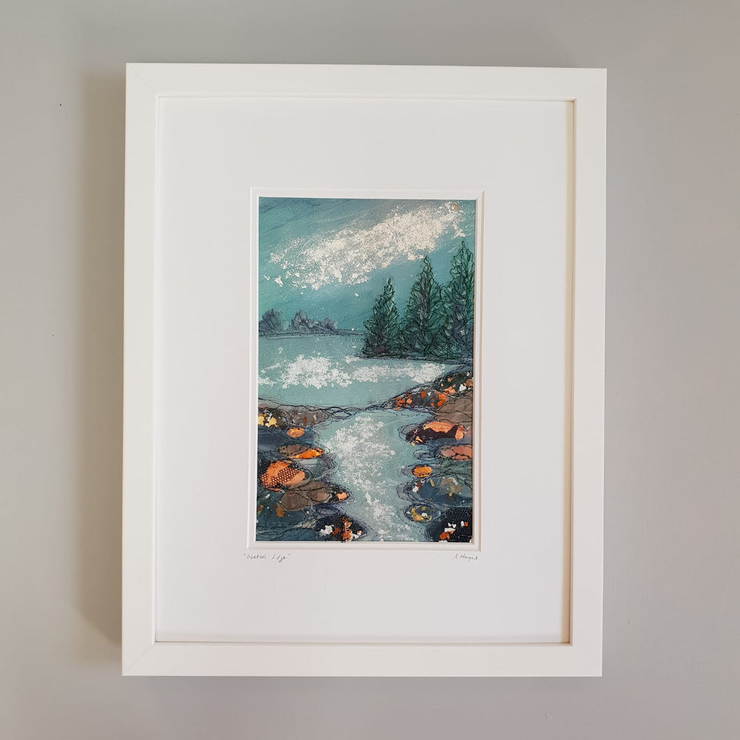 Large White Rectangular Frame Hand Made Textile Art: Lough Edge