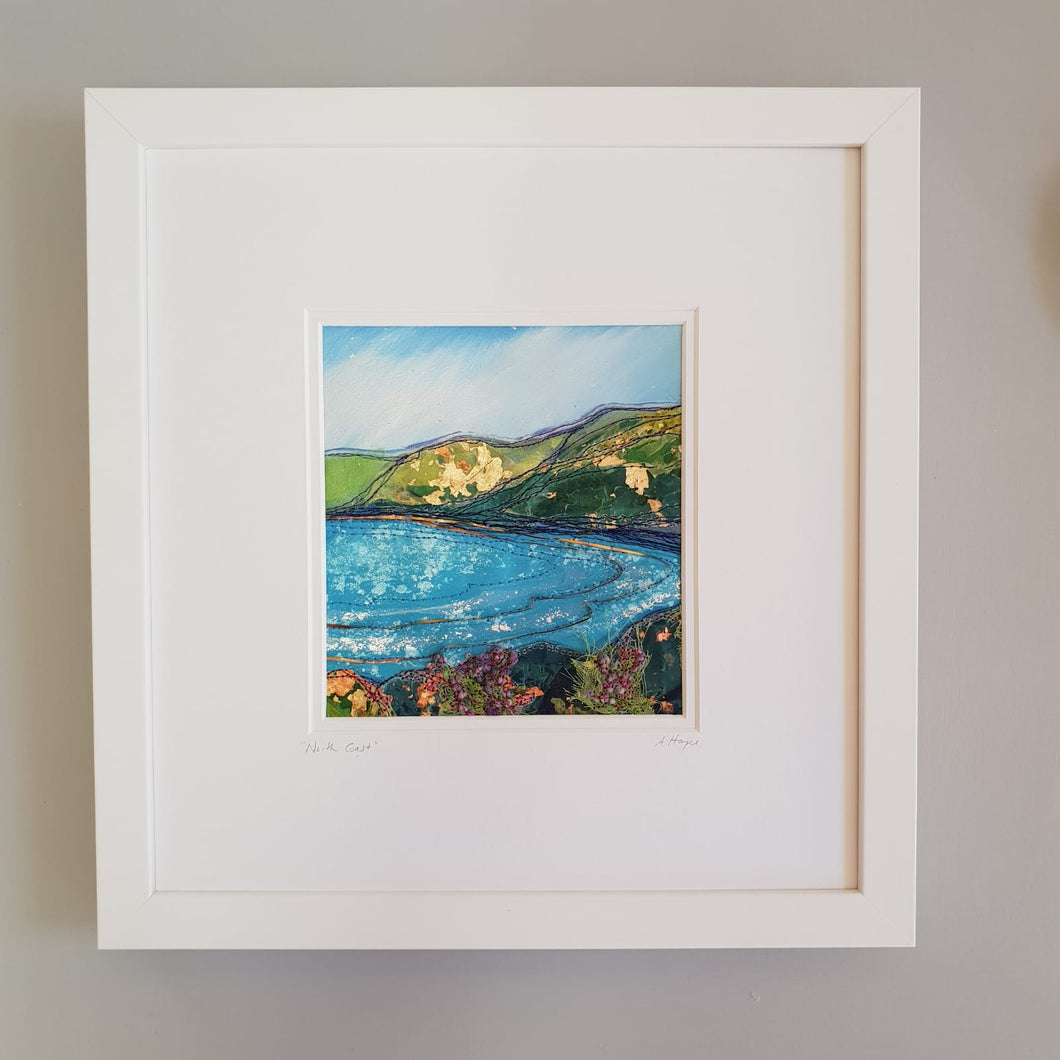 Medium White Frame Hand Made Textile Art: North Coast
