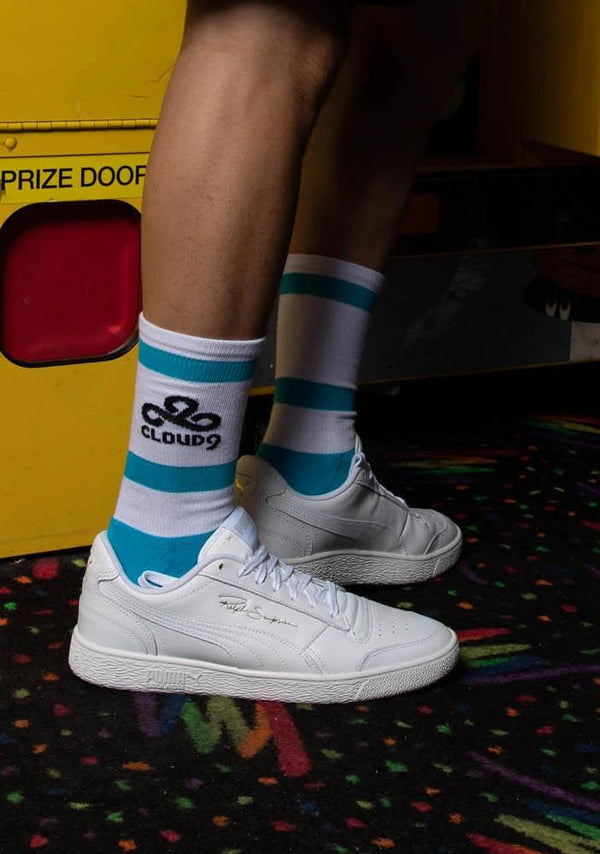 Puma x Cloud9 Crew Sock. White. Blue.