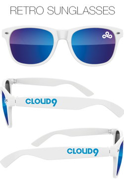 Cloud9 Blue Lens Sunglasses. White.