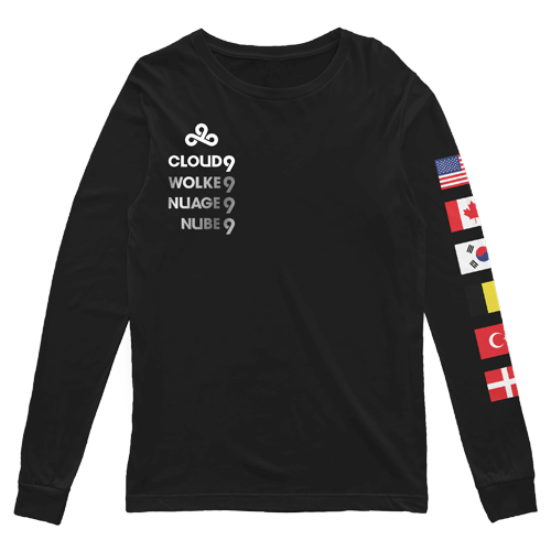 Cloud9 2019 Worlds Long Sleeve T-Shirt. Black.