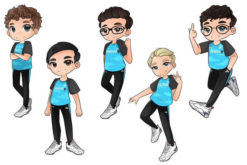 Cloud9 LCS Team Sticker Set