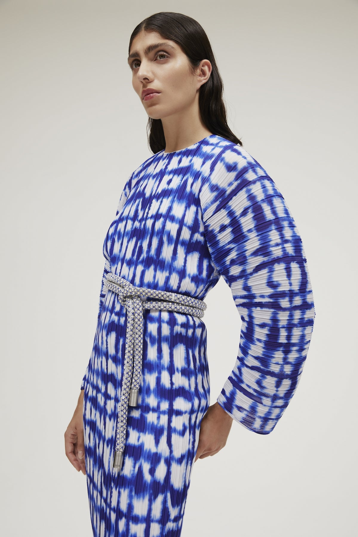 The Mirabelle Dress in Cobalt Blue Painted Check