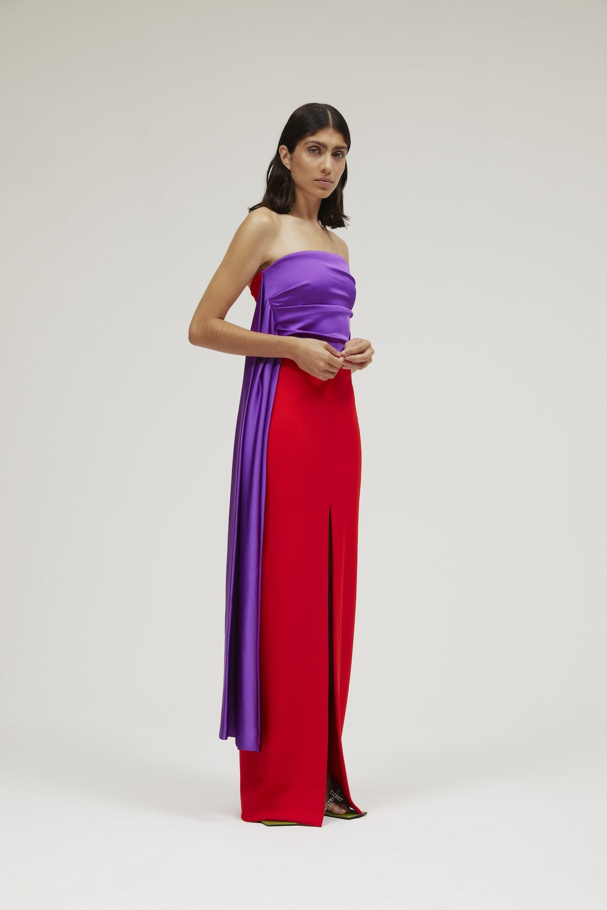 The Harlow Dress in Ultra Purple & True Red