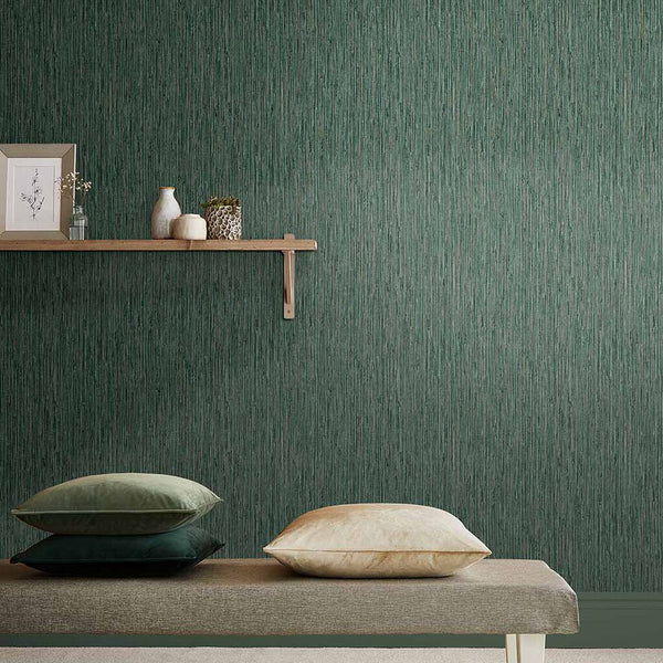 Dark teal textured wallpaper in spa setting