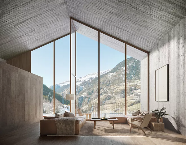Beautiful interior inspired by the natural surroundings with gorgeous view of mountains