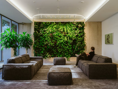 Big living wall in modern commercial lobby made by new earth solutions