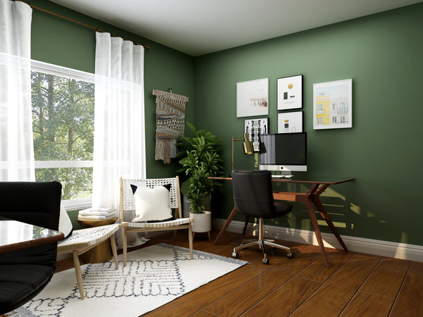 Work-from-home space with natural colours and textures