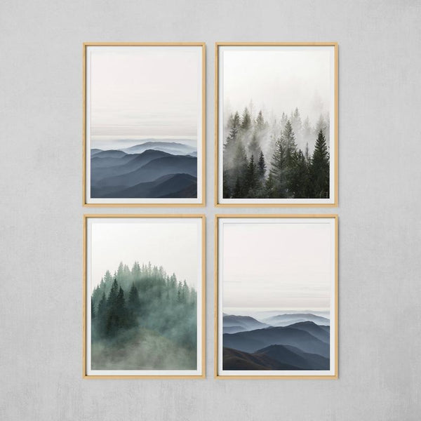 Four landscape paintings hung together in square formation