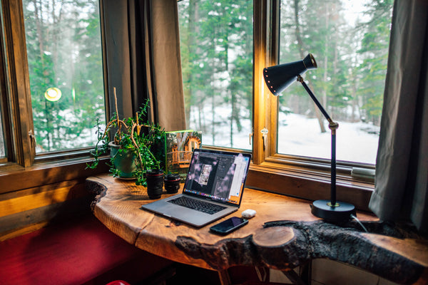 Biophilic designed home office space with raw edge wood table and views of nature