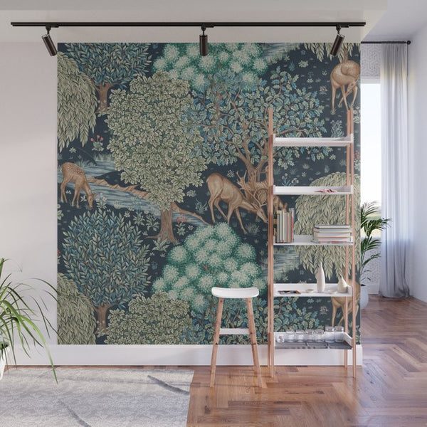 Forest-themed wallpaper with tones of green and blue
