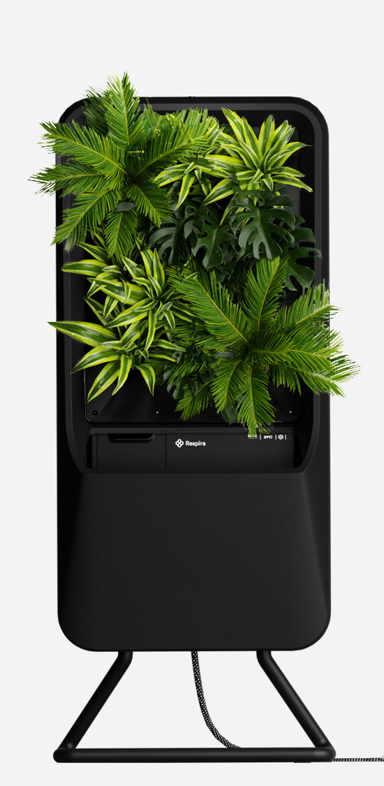 Black Respira unit with Tropical plant palette, and stainless steel stand