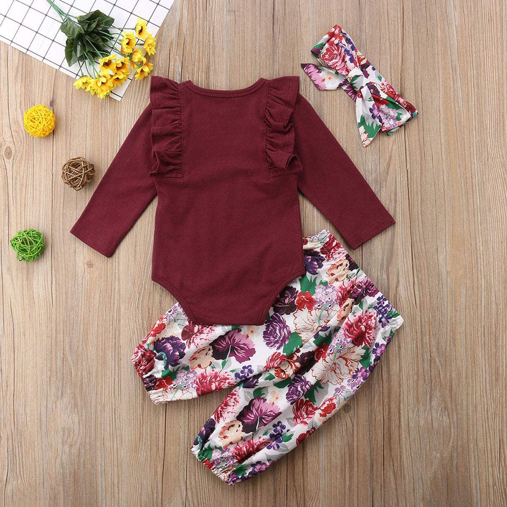 3pcs Baby Girl Red Romper with Floral Pant & Headband