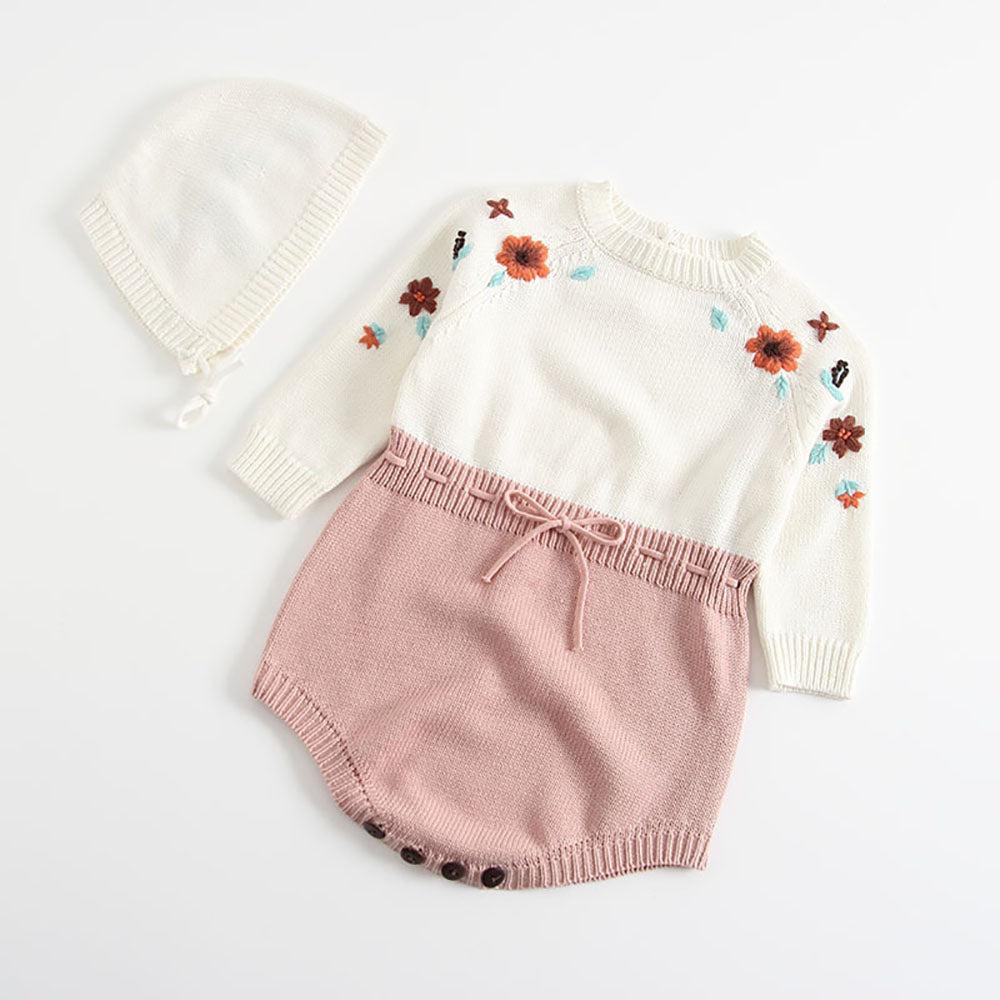 Handmade Baby Girl Knitted Romper with Pompom