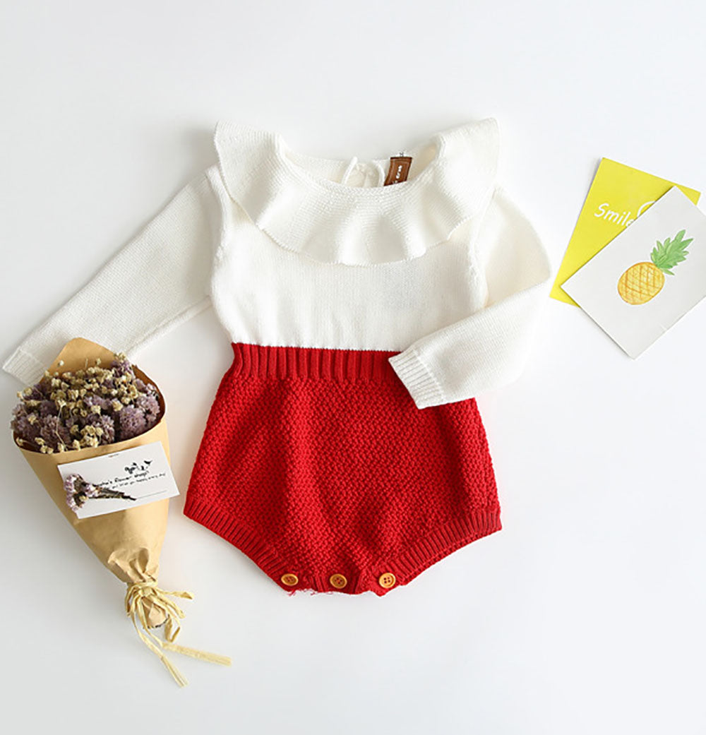 BnBies Baby Girl Knitted Cotton Ruffled Romper