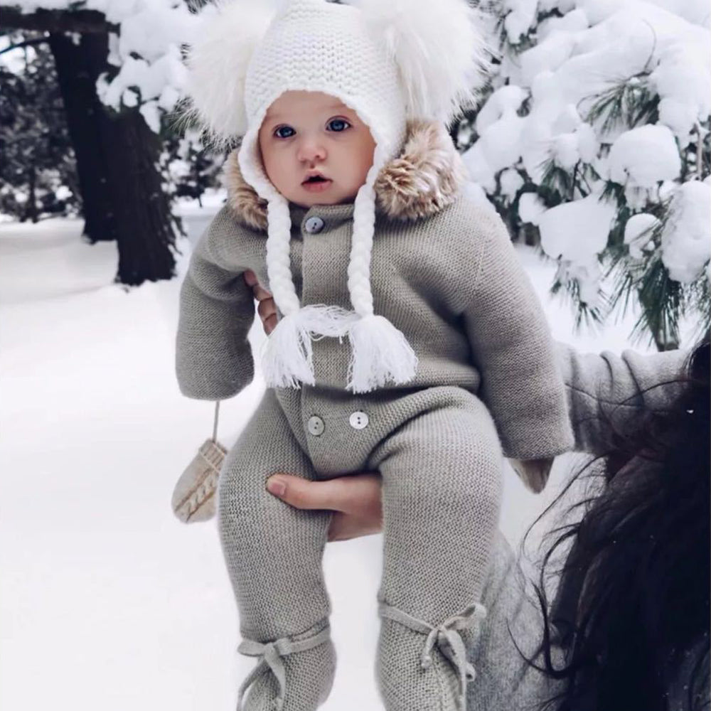 Baby Hooded Romper Knitted long Sleeve