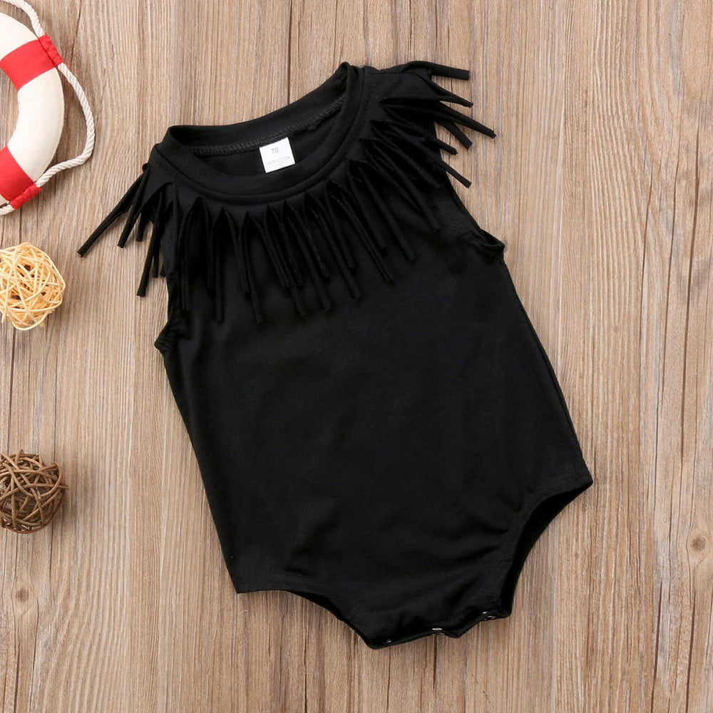 Baby Girl Sleeveless Solid Color Romper