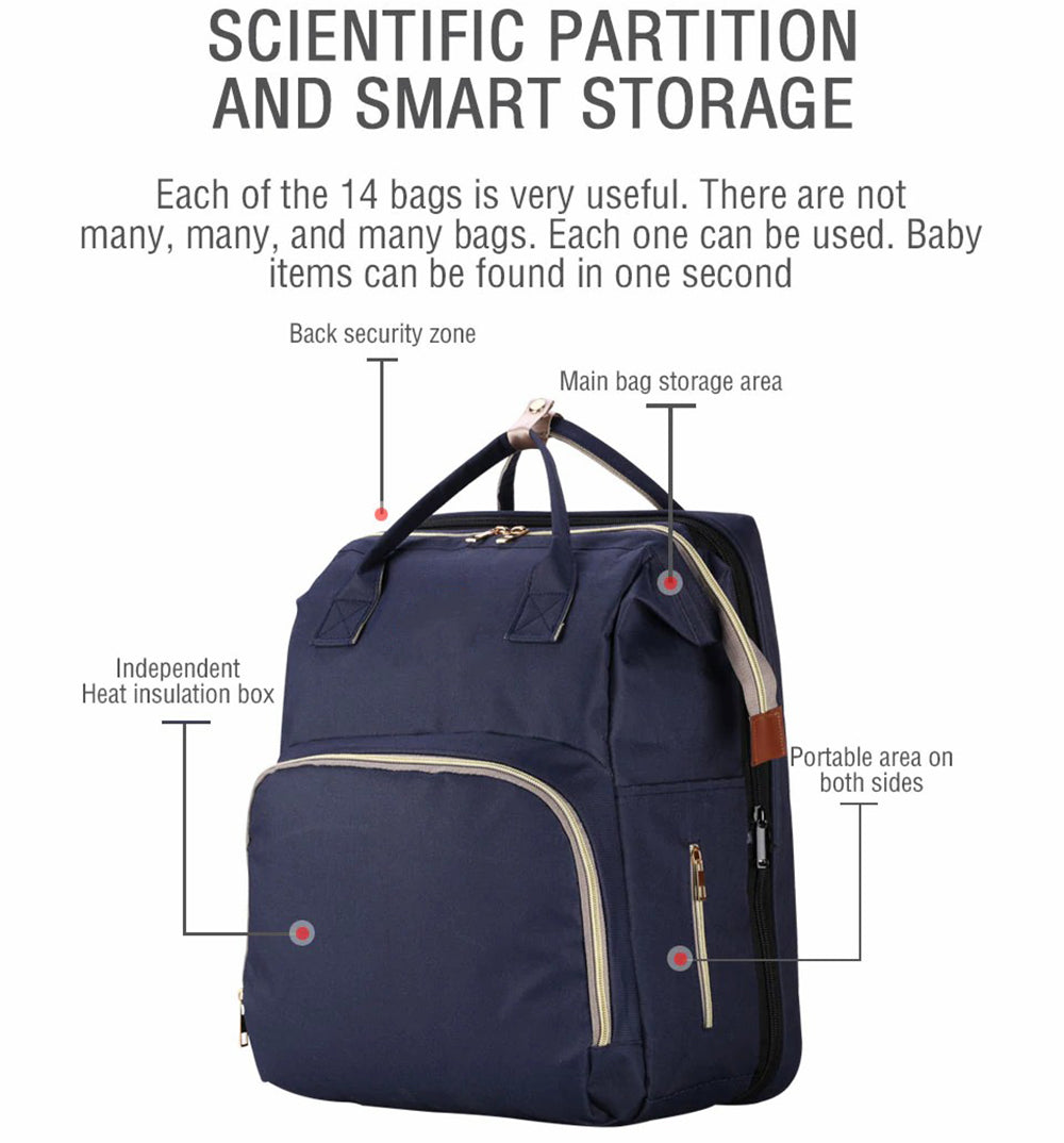 Stylish Diaper Multifunctional Folding Baby Backpack