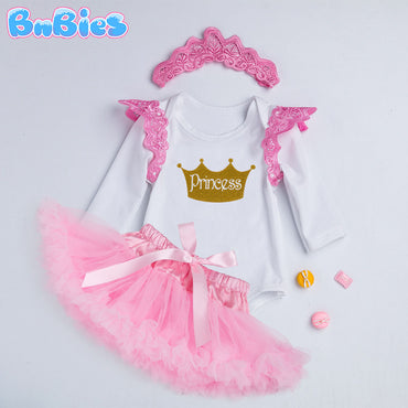 Princess Baby Girl Romper Skirt Set (3pcs)
