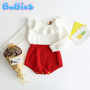 Baby Girl Knitted Cotton Ruffled Romper